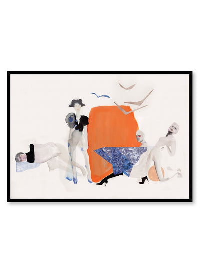 Horizontal abstract fashion poster by Opposite Wall of four minimalist model silhouettes and flying seagulls layered over an orange and beige background.