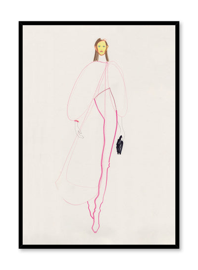 Minimalist fashion print by Opposite Wall of a tall model character wearing a white flowy jacket and white pants outlined in pink.