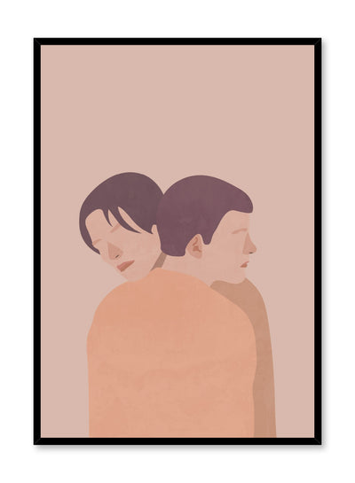 """Proximity in Beige"" is a minimalist and romantic illustration poster by Opposite Wall of couple hugging lovingly in shades of beige, brown and orange."