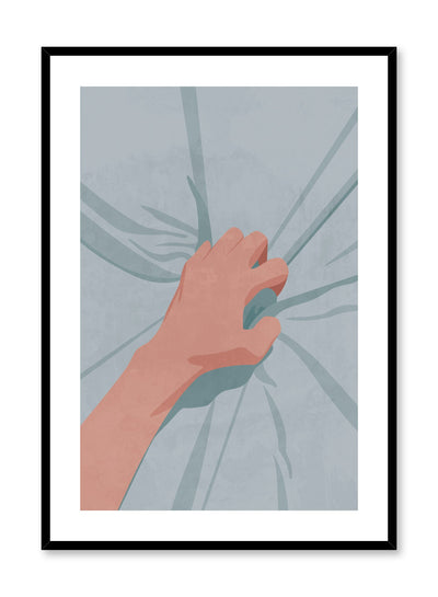 """Spasm"" is a minimalist and sensual illustration poster by Opposite Wall of a hand grabbing blue sheets in a moment of orgasmic pleasure."