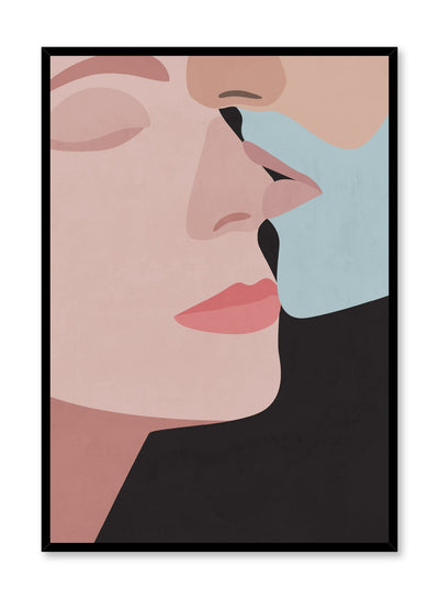 """Whisper"" is a minimalist and illustration poster by Opposite Wall of a man with a blue beard and a woman embracing lovingly over a black background."