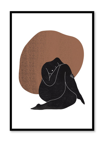 """Compassion"" is a minimalist illustration poster by Opposite Wall in white, black and brown of a curvy woman sitting with her legs crossed."