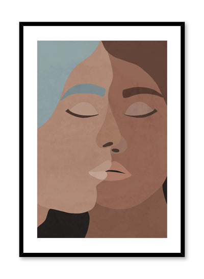 """Crossing Paths"" is a romantic and minimalist blue, brown and beige illustration poster by Opposite Wall of two women kissing romantically."