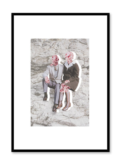 """Blooming Love"" is a minimalist grey and pink collage poster by Opposite Wall of a vintage couple cutout with flower heads over a gray stone background."