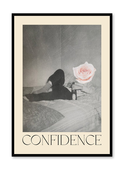 """Confidence"" is a minimalist beige and black & white typography collage poster by Opposite Wall of a cutout vintage man lying in bed with wine and a pink rose and the word 'confidence' in vintage letters."