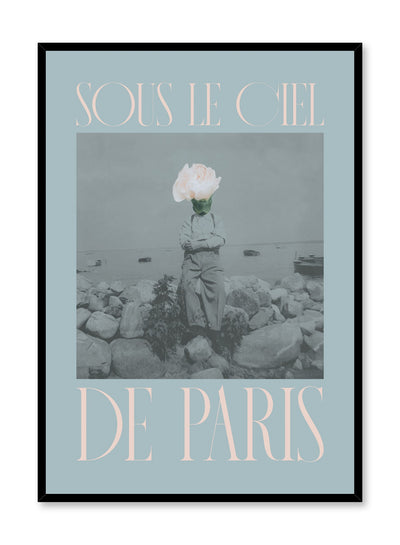 """Under the Paris Sky"" is a minimalist blue and pink typography collage poster by Opposite Wall of a deconstructed vintage photography of a man with a pink rose on his head and the words 'under the paris sky' in French."