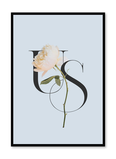 """Us"" is a minimalist blue, cream and black typography poster by Opposite Wall of the word 'us' layered over a white flower over a baby blue background."
