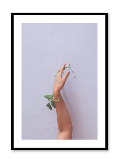 """Skin & Foliage"" is a minimalist photography poster by Opposite Wall of a nude arm and hand entangled with a green leafy stem."