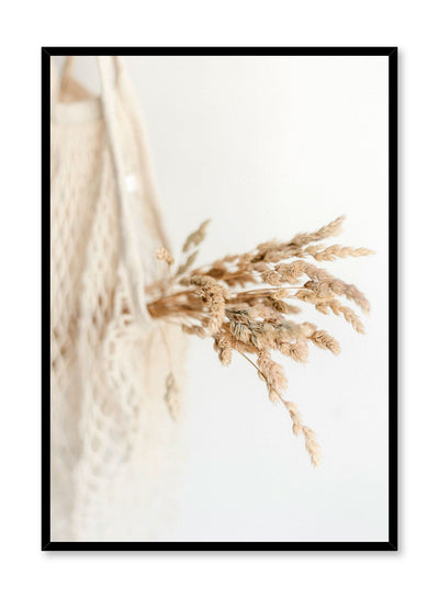 """Everlasting Bouquet"" is a botanical photography poster by Opposite Wall of a small dried grasses bouquet harvest in a white cotton mesh bag."