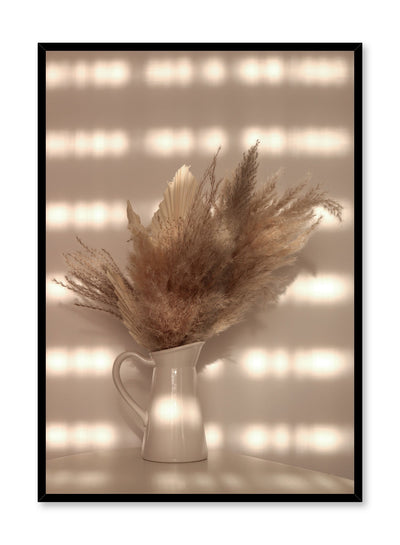 """Radiant Arrangement"" is a botanical photography poster by Opposite Wall of a golden dried pampas bouquet in a white vase bathed in sunlight."