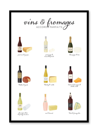 Wine & Cheese Pairings in French is an illustrated wine and cheese poster guide by Opposite Wall.