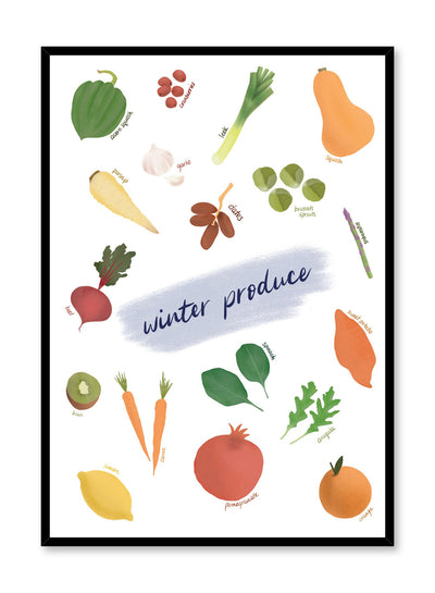 Winter Produce is an illustrated seasonal fruit and vegetable harvest guide poster by Opposite Wall.