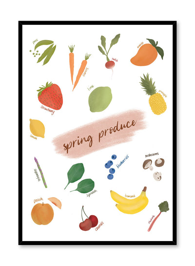 Spring Produce is an illustrated seasonal fruit and vegetable harvest guide poster by Opposite Wall.
