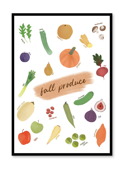Fall Produce is an illustrated seasonal fruit and vegetable harvest guide poster by Opposite Wall.