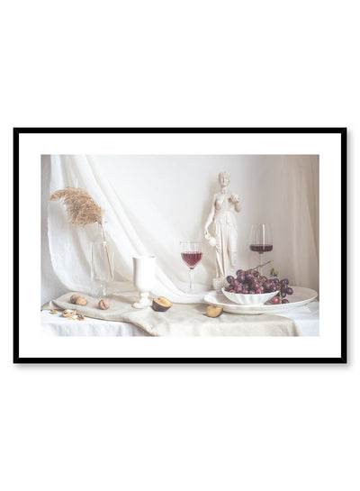 Epicurean Pleasures is a still life photography poster with fruit and wine by Opposite Wall.