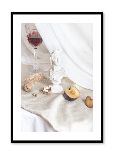 Bon Vivant is a still life photography poster with fruit and wine by Opposite Wall.