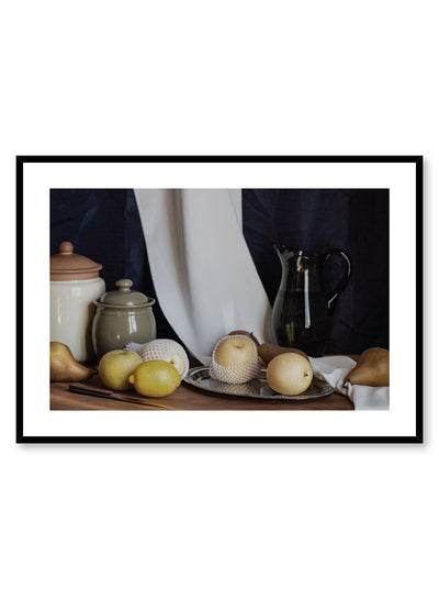 Rustic Counter is a still life photography poster with pears by Opposite Wall.