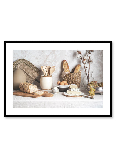 Ode to Carbs is a food still life photography poster with bread, butter and cheese by Opposite Wall.