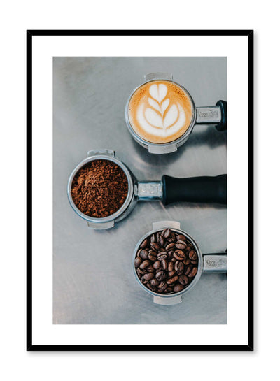 Three Step Masterpiece is a photography of coffee machine handles filled with whole espresso beans, ground coffee and a latte art by Opposite Wall.
