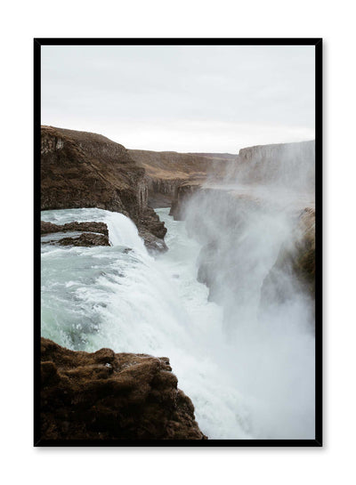 'Scandinavian Waterfall' is a landscape photography poster by Opposite Wall of beautiful waterfalls in Iceland.