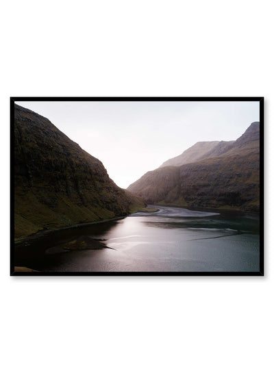 'Infinite Valley' is a landscape photography poster by Opposite Wall of a calm river passing through tall mountains in the Faroe Islands.