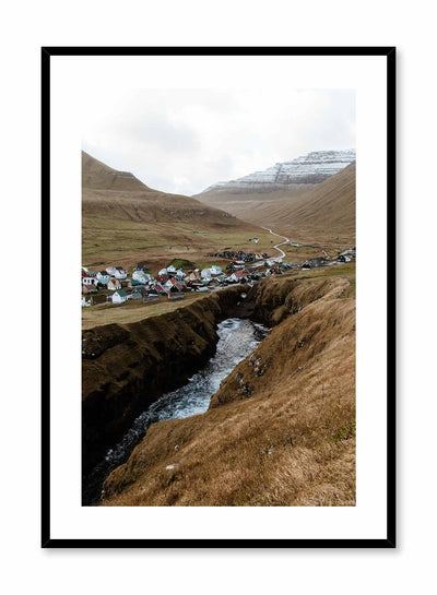 'Home Among the Giants' is a landscape photography poster by Opposite Wall of a quaint Nordic village at the heart of tall mountains in the Faroe Islands.