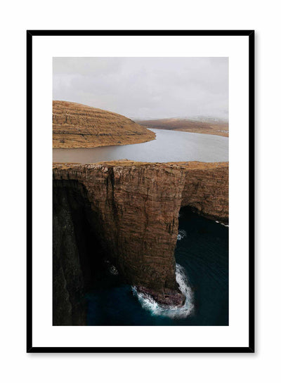 'Serene Precipice' is a landscape photography poster by Opposite Wall of a tranquil lake overlooking the edge of a tall cliff in the Faroe Islands.