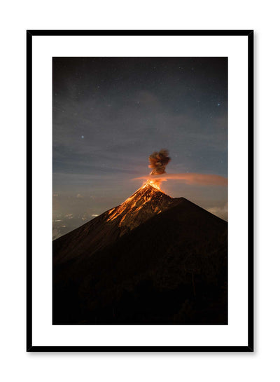 'Grandiose Eruption' is a rare landscape photography poster by Opposite Wall of an erupting volcano in Guatemala.