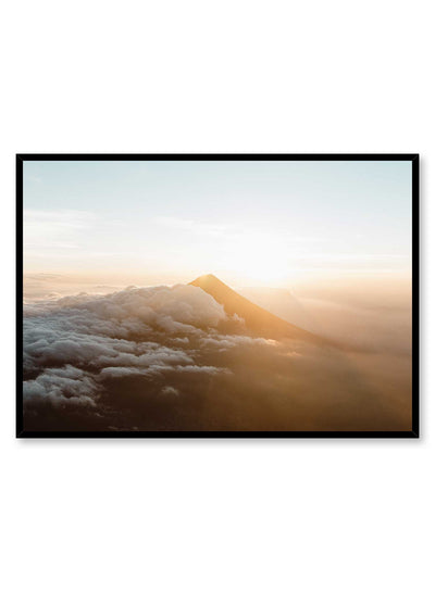'Zenith' is a breathtaking landscape photography poster by Opposite Wall of a sun-kissed mountain peaking through the clouds in the Guatemala sky.