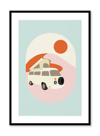 Life on the Road is a minimalist illustration poster of a colourful RV by Opposite Wall.