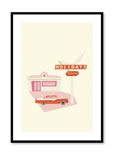 Retro Holiday is a minimalist illustration poster of a '50s car by Opposite Wall.