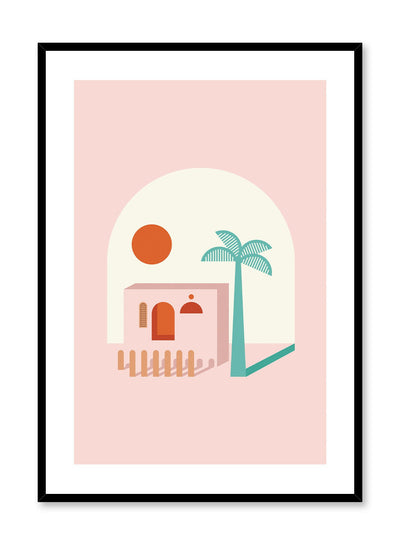 A Place in the Sun is a minimalist illustration poster of a pink beach house by Opposite Wall.