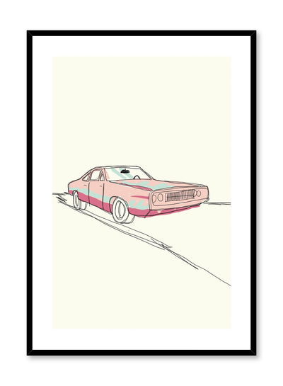Pedal to the Metal is a minimalist sketch illustration poster of a pink '80s car by Opposite Wall.