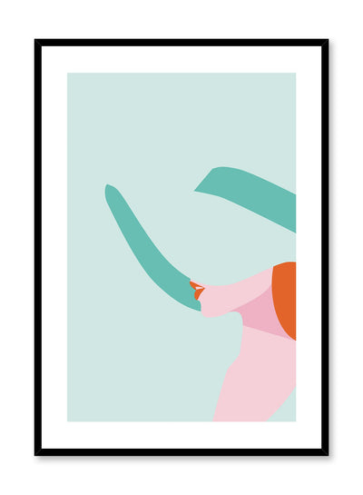 Shady Lady is a minimalist illustration poster of a glamorous woman with a large sunhat by Opposite Wall.