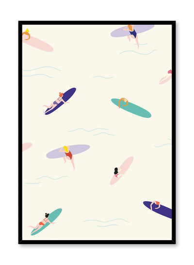 Surf's Up! is a retro illustration poster of surfers enjoying the waves by Opposite Wall.