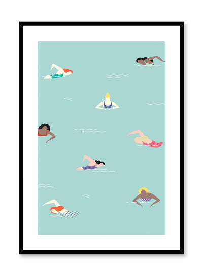 Just Keep Swimming is a retro illustration poster of swimming women by Opposite Wall.