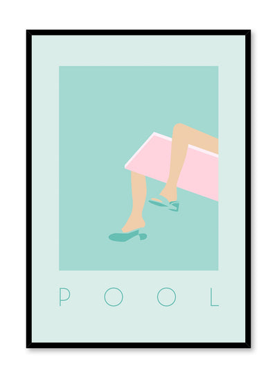 Summer Throne is a minimalist illustration poster of a woman wearing high heels while sitting on a diving board by Opposite Wall.