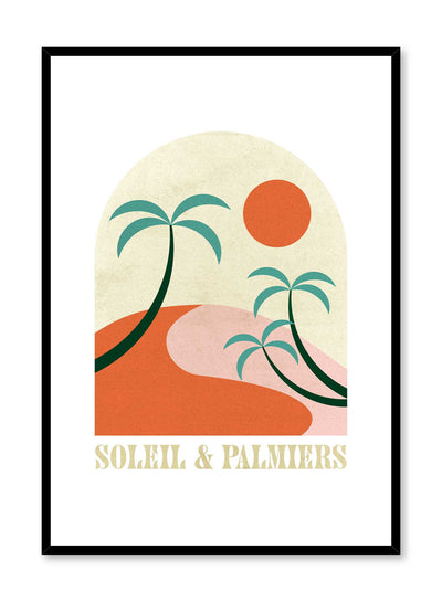 St-Tropez is a retro illustration poster of palm trees overlooking the sun by Opposite Wall.