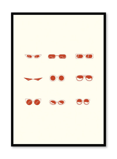 Cool Shades is a minimalist illustration poster of nine pairs of sunglasses by Opposite Wall.