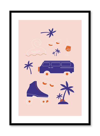 Summer Checklist is a retro illustration poster of multiple objects reminiscent of summer vacation by Opposite Wall.