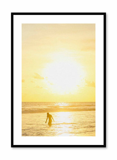Golden Day is a minimalist lifestyle photography poster of a blinding sunset setting over the sea by Opposite Wall.