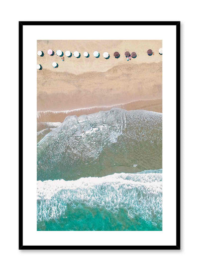 Beach Day is a minimalist photography poster of a bird view of a beach filled with parasols by Opposite Wall.