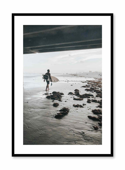 Surf Morning is a summer photography poster of a surfer carrying his surfboard under a bridge by Opposite Wall.
