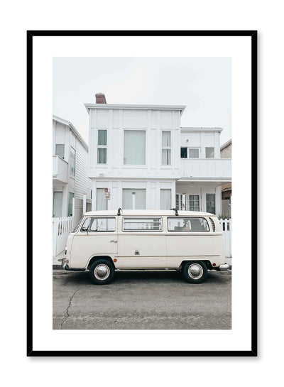 Retro Minivan is a vintage photography poster of a '60s winnebago van parked in front of a building by Opposite Wall.