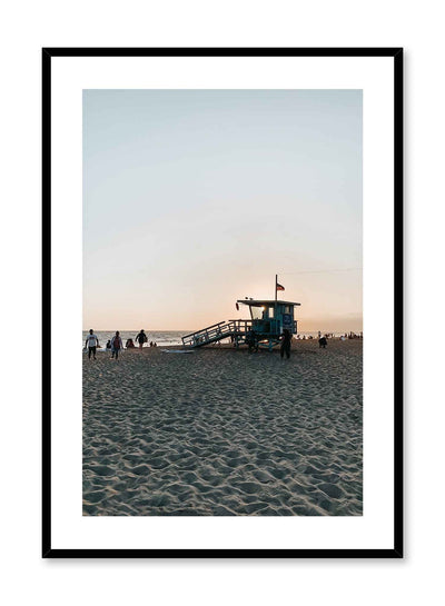 Beach Exit is a summer photography poster of a sandy beach at dusk featuring a lifeguard tower by Opposite Wall.