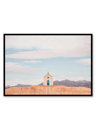 Upstairs is a photography poster of a quaint rustic chapel by Opposite Wall.