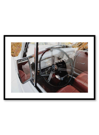 Cruisin' is a car photography poster of the leather seat and large steering wheel of a 1950's car by Opposite Wall.
