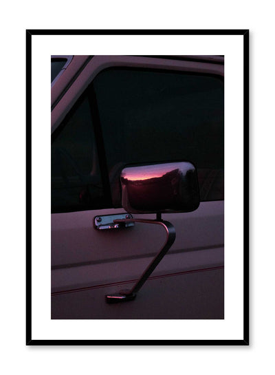 Rearview Sunset is a photography poster of a sunset reflecting on the rearview mirror of a retro car by Opposite Wall.
