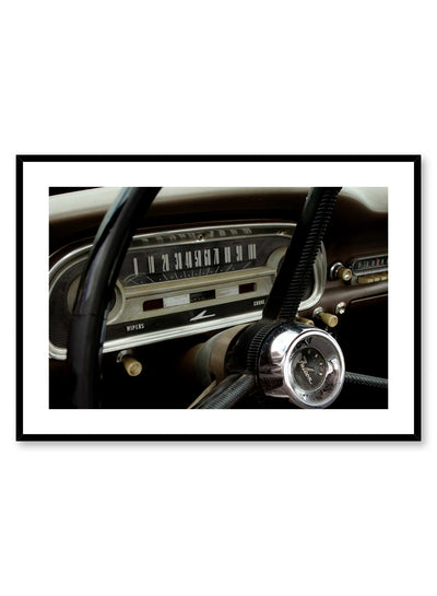 Beep Beep! is a vintage photography poster of a 60's Ford Falcon's steering wheel and dashboard by Opposite Wall.