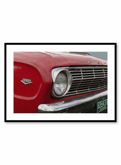 '50s Bumper is a vintage photography poster of a red Ford car's bumper by Opposite Wall.